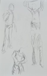 Short poses in charcoal; 1 - 5 mins